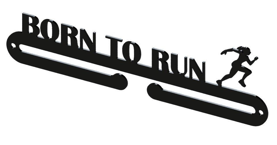 Věšák na medaile - born to run žena