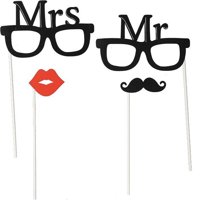 Párty foto doplňky 4 ks - Mr & Mrs