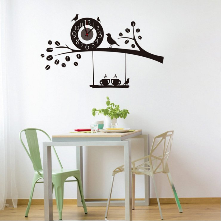 Nalepovací nástěnné hodiny na zeď - ptáčci a káva