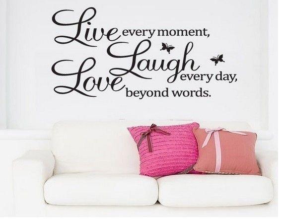 Dekorativní nálepka na zeď - LIVE LAUGHT LOVE