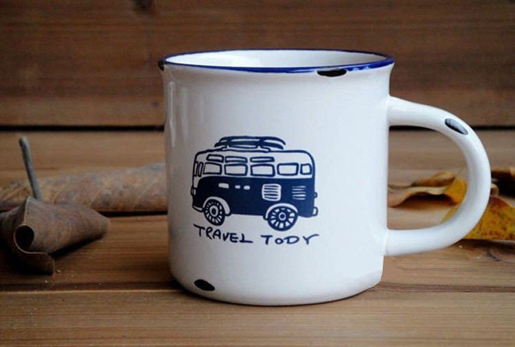 Porcelánový MINI retro hrneček - Travel