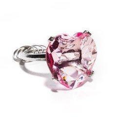 Přívěsek diamant srdce - růžový